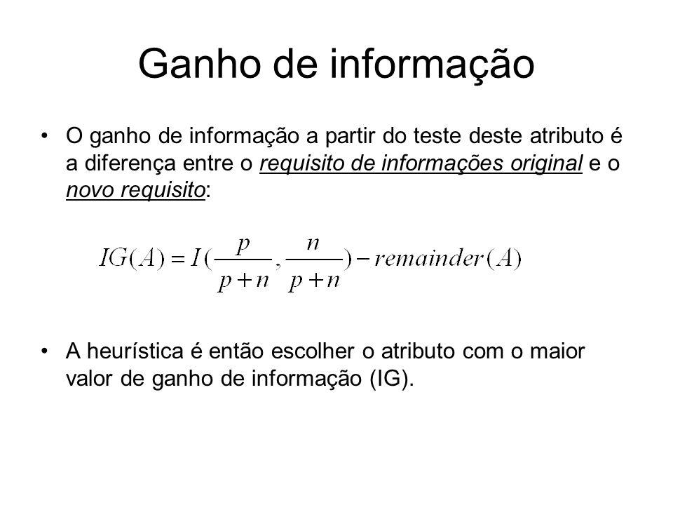 Ganho de informação O ganho de informação a partir do teste deste atributo é a diferença entre o requisito de informações original e o novo requisito: A heurística é então escolher o atributo com o maior valor de ganho de informação (IG).