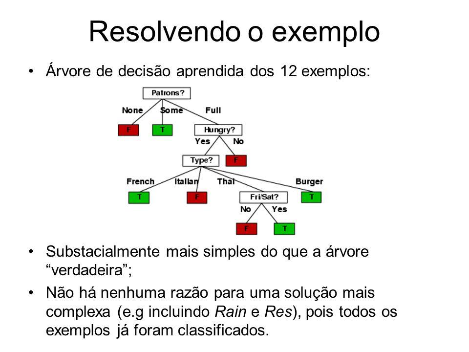Resolvendo o exemplo Árvore de decisão aprendida dos 12 exemplos: Substacialmente mais simples do que a árvore verdadeira; Não há nenhuma razão para uma solução mais complexa (e.g incluindo Rain e Res), pois todos os exemplos já foram classificados.