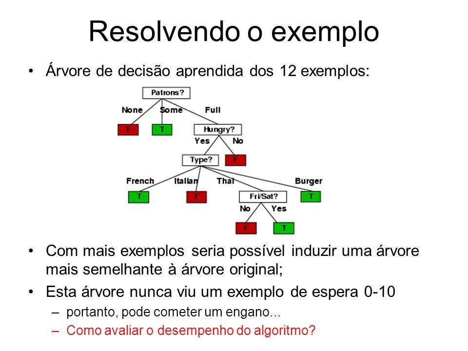 Resolvendo o exemplo Árvore de decisão aprendida dos 12 exemplos: Com mais exemplos seria possível induzir uma árvore mais semelhante à árvore original; Esta árvore nunca viu um exemplo de espera 0-10 –portanto, pode cometer um engano...