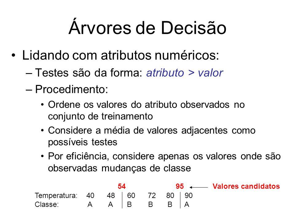 Lidando com atributos numéricos: –Testes são da forma: atributo > valor –Procedimento: Ordene os valores do atributo observados no conjunto de treinamento Considere a média de valores adjacentes como possíveis testes Por eficiência, considere apenas os valores onde são observadas mudanças de classe Árvores de Decisão Temperatura: 40 48 60 72 80 90 Classe: A A B B B A 5495Valores candidatos