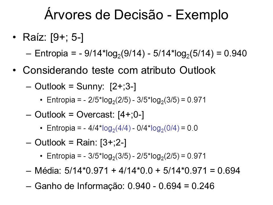 Raíz: [9+; 5-] –Entropia = - 9/14*log 2 (9/14) - 5/14*log 2 (5/14) = 0.940 Considerando teste com atributo Outlook –Outlook = Sunny: [2+;3-] Entropia = - 2/5*log 2 (2/5) - 3/5*log 2 (3/5) = 0.971 –Outlook = Overcast: [4+;0-] Entropia = - 4/4*log 2 (4/4) - 0/4*log 2 (0/4) = 0.0 –Outlook = Rain: [3+;2-] Entropia = - 3/5*log 2 (3/5) - 2/5*log 2 (2/5) = 0.971 –Média: 5/14*0.971 + 4/14*0.0 + 5/14*0.971 = 0.694 –Ganho de Informação: 0.940 - 0.694 = 0.246 Árvores de Decisão - Exemplo