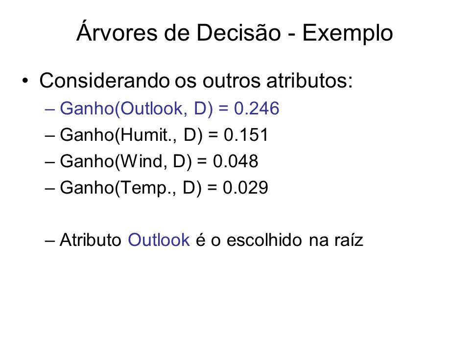 Considerando os outros atributos: –Ganho(Outlook, D) = 0.246 –Ganho(Humit., D) = 0.151 –Ganho(Wind, D) = 0.048 –Ganho(Temp., D) = 0.029 –Atributo Outlook é o escolhido na raíz Árvores de Decisão - Exemplo