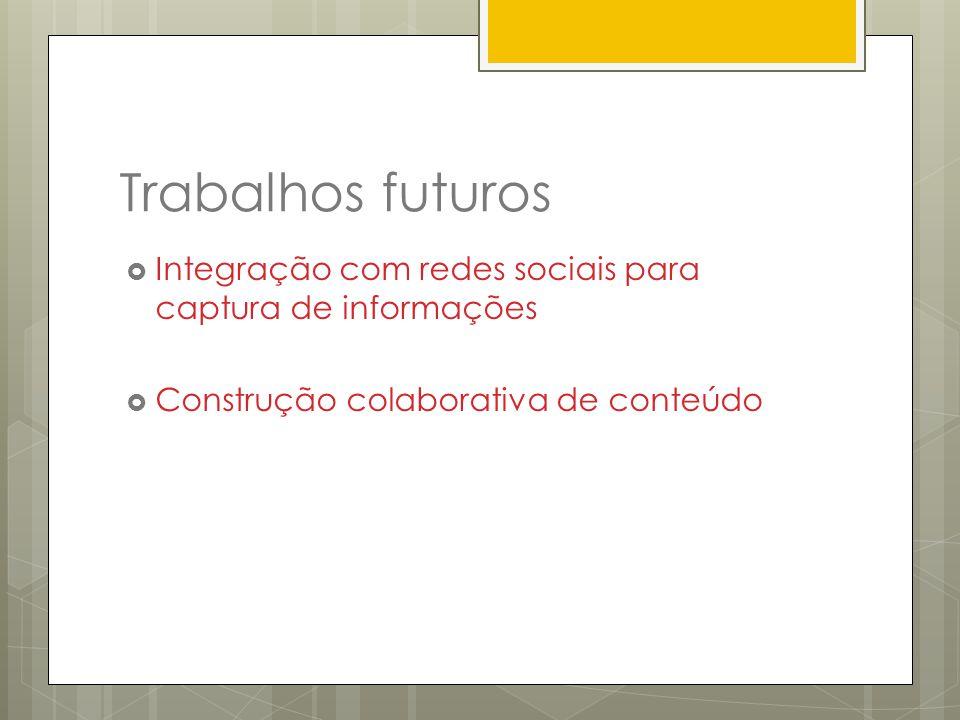 Trabalhos futuros Integração com redes sociais para captura de informações Construção colaborativa de conteúdo