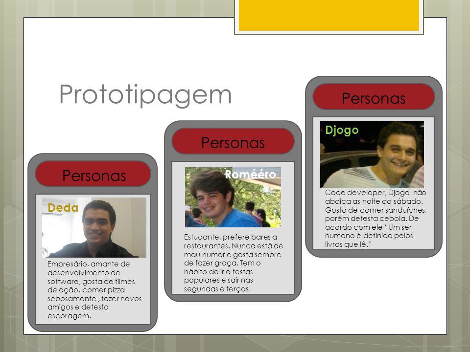 Prototipagem Personas Deda Empresário, amante de desenvolvimento de software, gosta de filmes de ação, comer pizza sebosamente, fazer novos amigos e d