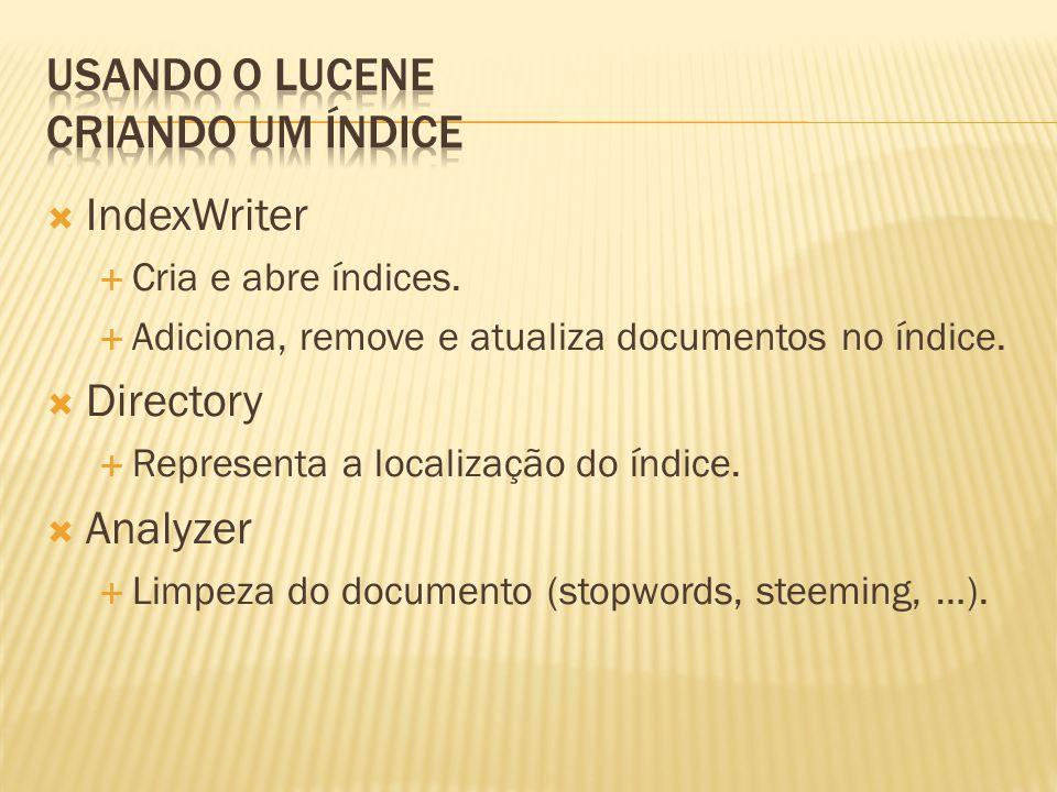IndexWriter Cria e abre índices. Adiciona, remove e atualiza documentos no índice. Directory Representa a localização do índice. Analyzer Limpeza do d