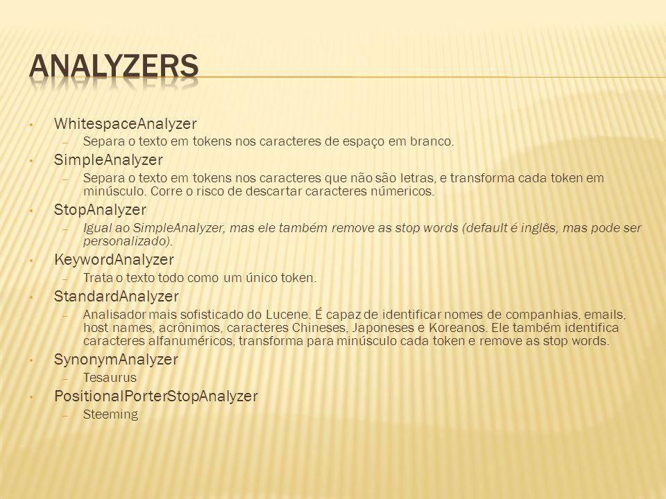WhitespaceAnalyzer – Separa o texto em tokens nos caracteres de espaço em branco. SimpleAnalyzer – Separa o texto em tokens nos caracteres que não são