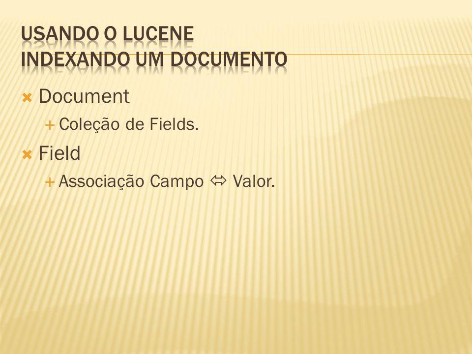 Document Coleção de Fields. Field Associação Campo Valor.