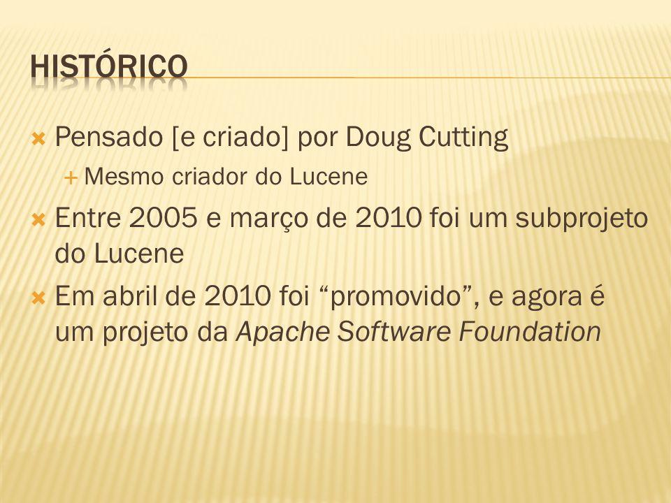 Pensado [e criado] por Doug Cutting Mesmo criador do Lucene Entre 2005 e março de 2010 foi um subprojeto do Lucene Em abril de 2010 foi promovido, e a