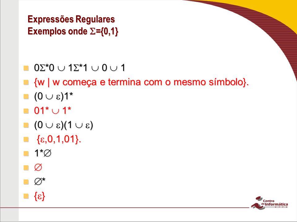 Expressões Regulares Exemplos onde ={0,1} 0 *0 1 *1 0 1 0 *0 1 *1 0 1 {w | w começa e termina com o mesmo símbolo}. {w | w começa e termina com o mesm