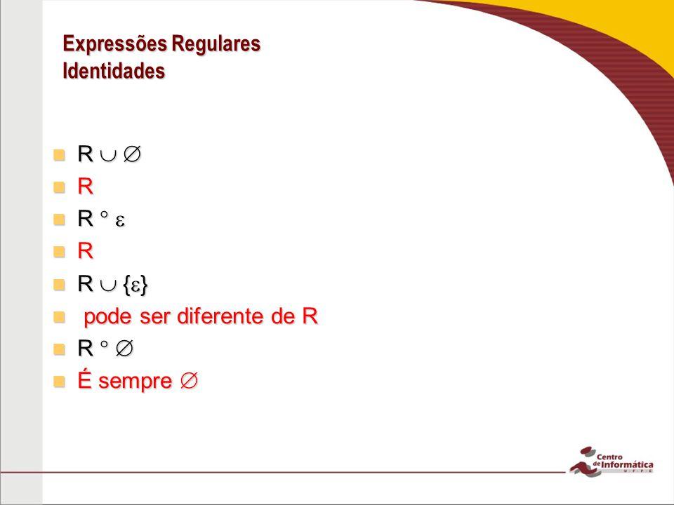 Expressões Regulares Identidades R R R R R { } R { } pode ser diferente de R pode ser diferente de R R R É sempre É sempre