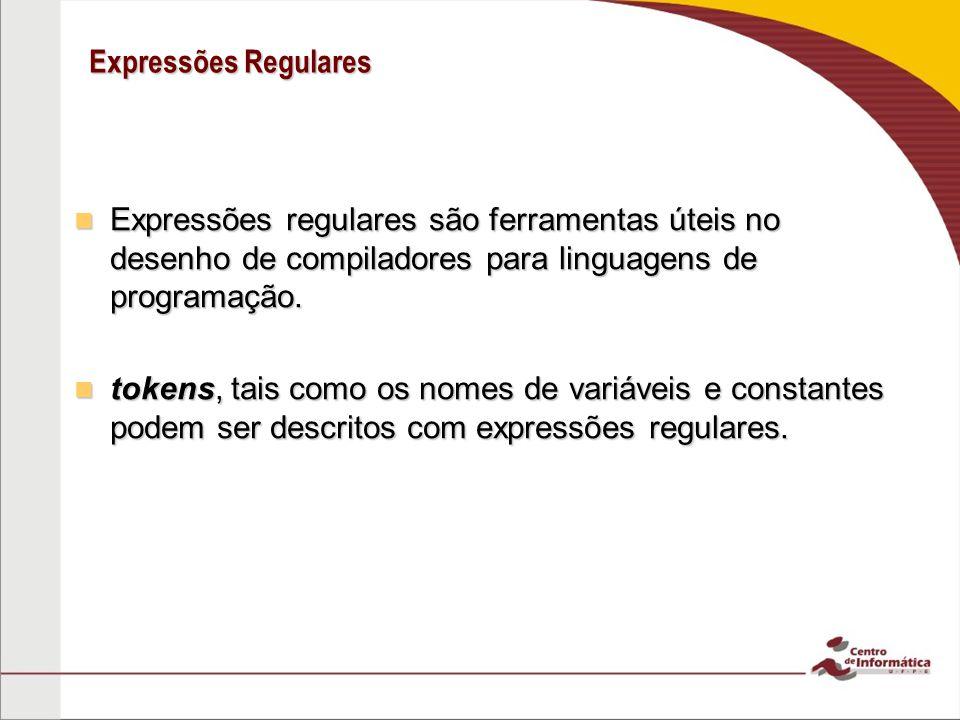 Expressões Regulares Expressões regulares são ferramentas úteis no desenho de compiladores para linguagens de programação. Expressões regulares são fe