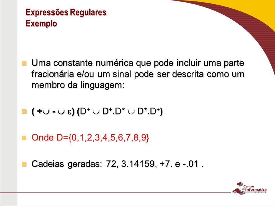 Expressões Regulares Exemplo Uma constante numérica que pode incluir uma parte fracionária e/ou um sinal pode ser descrita como um membro da linguagem