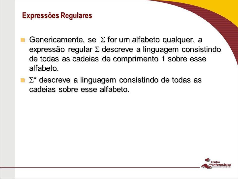 Expressões Regulares Genericamente, se for um alfabeto qualquer, a expressão regular descreve a linguagem consistindo de todas as cadeias de comprimen