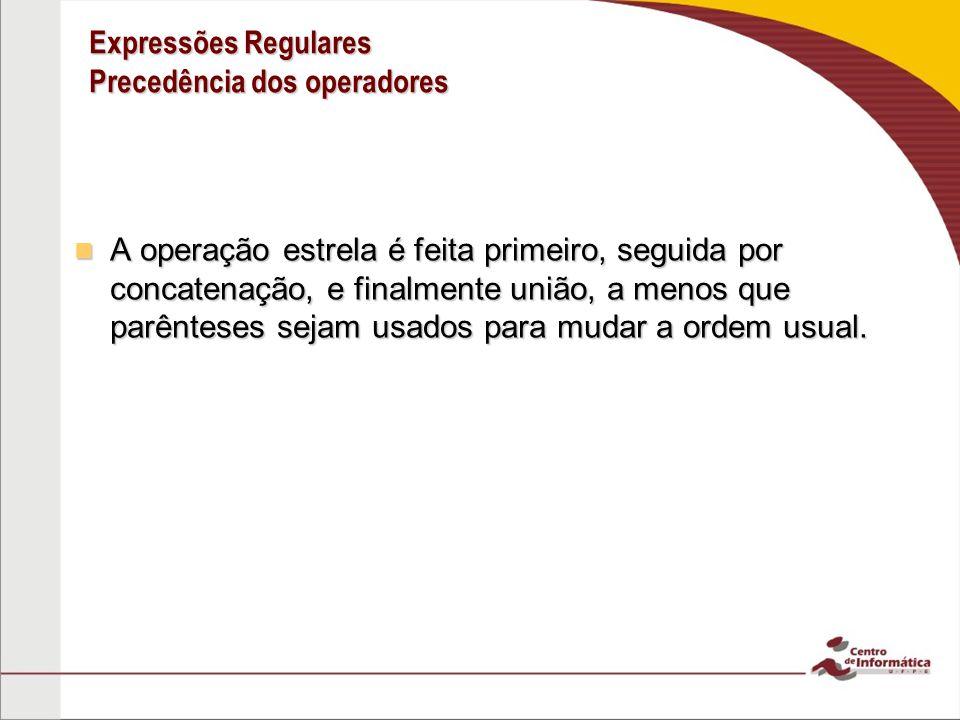 Expressões Regulares Precedência dos operadores A operação estrela é feita primeiro, seguida por concatenação, e finalmente união, a menos que parênte