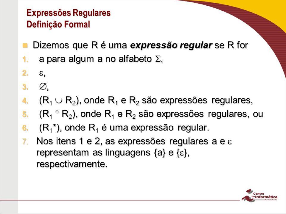 Expressões Regulares Definição Formal Dizemos que R é uma expressão regular se R for Dizemos que R é uma expressão regular se R for 1. a para algum a