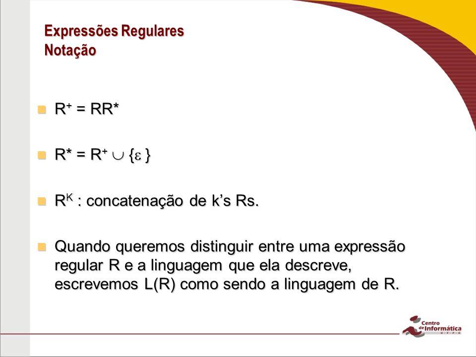 Expressões Regulares Notação R + = RR* R + = RR* R* = R + { } R* = R + { } R K : concatenação de ks Rs. R K : concatenação de ks Rs. Quando queremos d