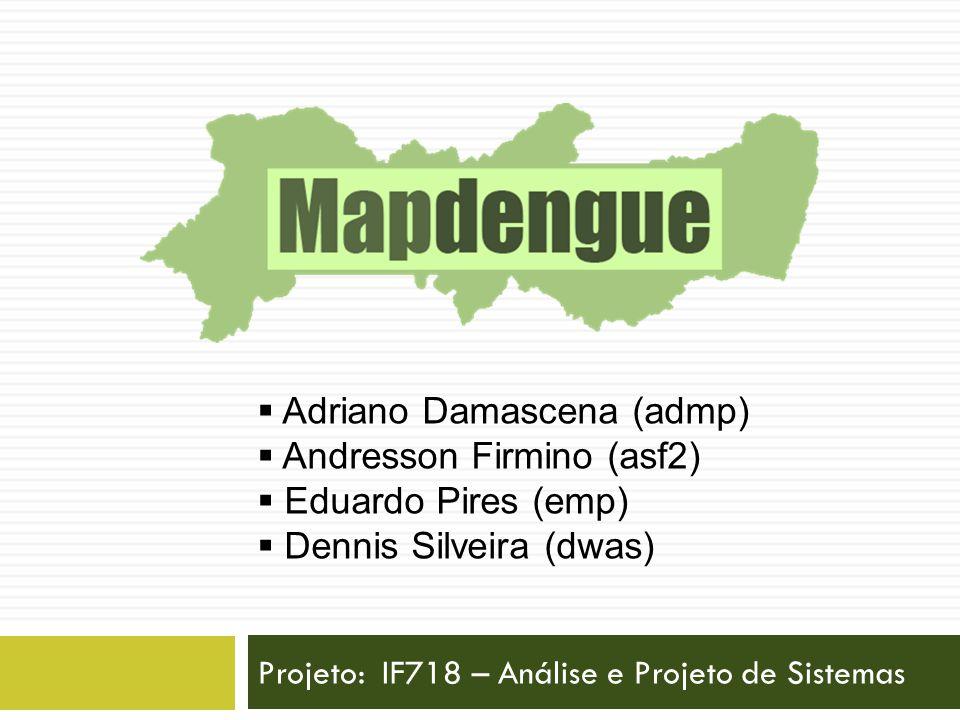 Projeto: IF718 – Análise e Projeto de Sistemas Adriano Damascena (admp) Andresson Firmino (asf2) Eduardo Pires (emp) Dennis Silveira (dwas)