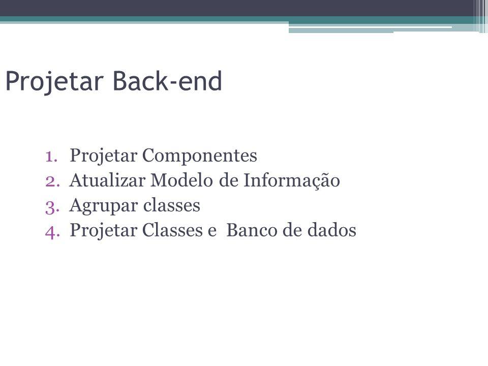 Projetar Back-end 1.Projetar Componentes 2.Atualizar Modelo de Informação 3.Agrupar classes 4.Projetar Classes e Banco de dados