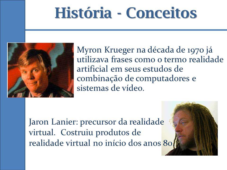 Myron Krueger na década de 1970 já utilizava frases como o termo realidade artificial em seus estudos de combinação de computadores e sistemas de víde