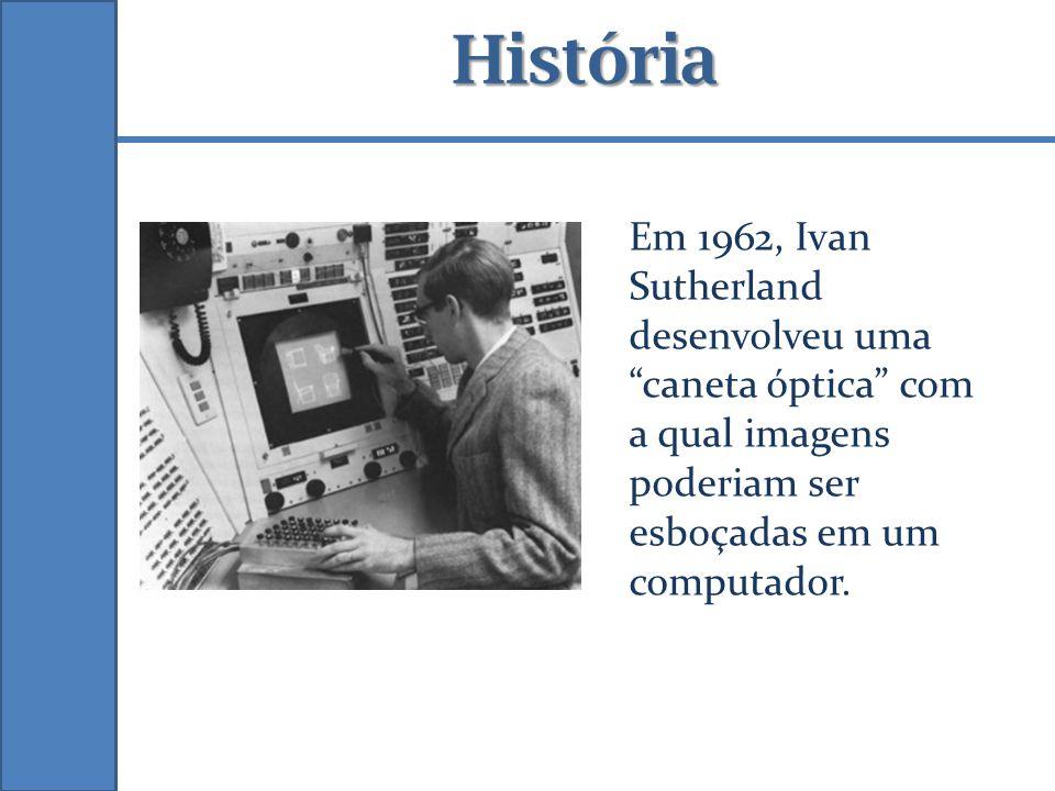 História Em 1962, Ivan Sutherland desenvolveu uma caneta óptica com a qual imagens poderiam ser esboçadas em um computador.