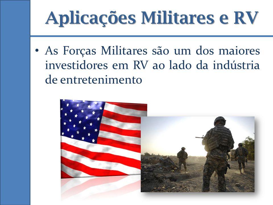 Aplicações Militares e RV As Forças Militares são um dos maiores investidores em RV ao lado da indústria de entretenimento