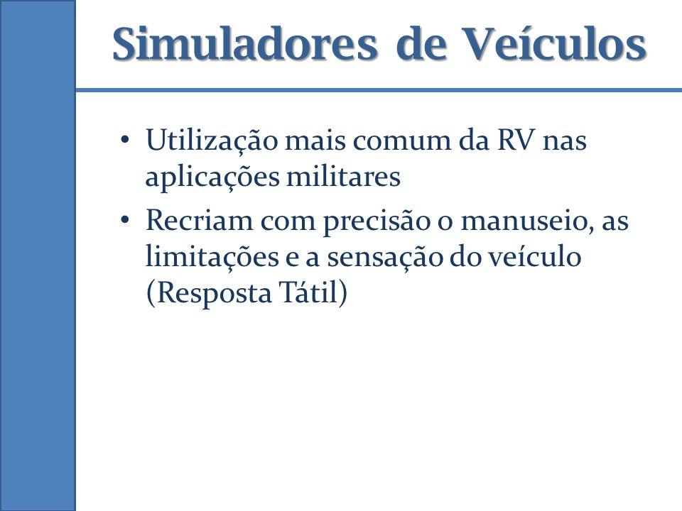 Simuladores de Veículos Utilização mais comum da RV nas aplicações militares Recriam com precisão o manuseio, as limitações e a sensação do veículo (R