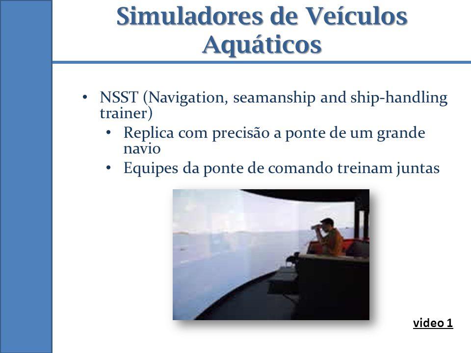 Simuladores de Veículos Aquáticos NSST (Navigation, seamanship and ship-handling trainer) Replica com precisão a ponte de um grande navio Equipes da p