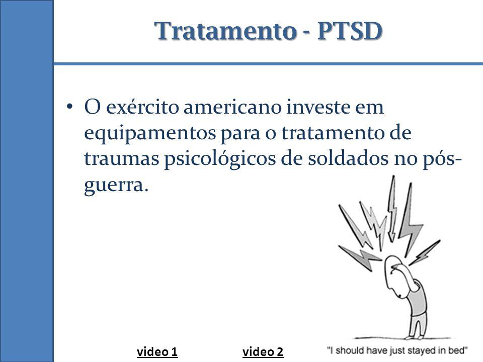Tratamento - PTSD O exército americano investe em equipamentos para o tratamento de traumas psicológicos de soldados no pós- guerra. video 1video 2