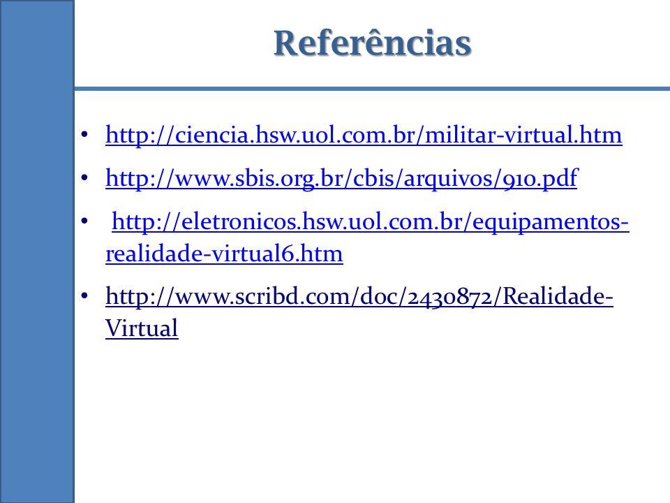 Referências http://ciencia.hsw.uol.com.br/militar-virtual.htm http://www.sbis.org.br/cbis/arquivos/910.pdf http://eletronicos.hsw.uol.com.br/equipamen