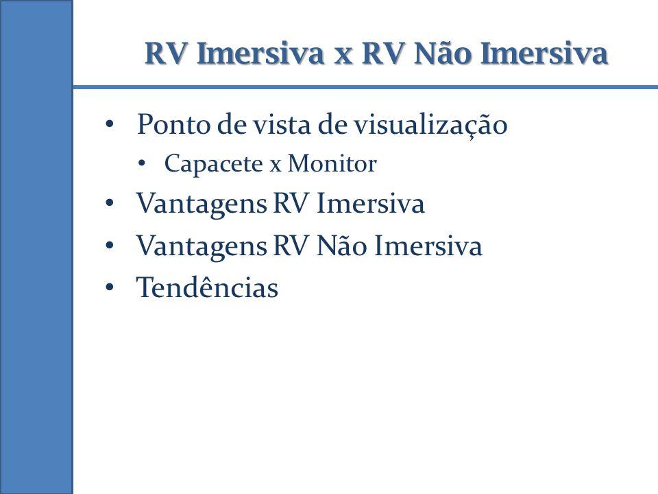 RV Imersiva x RV Não Imersiva Ponto de vista de visualização Capacete x Monitor Vantagens RV Imersiva Vantagens RV Não Imersiva Tendências