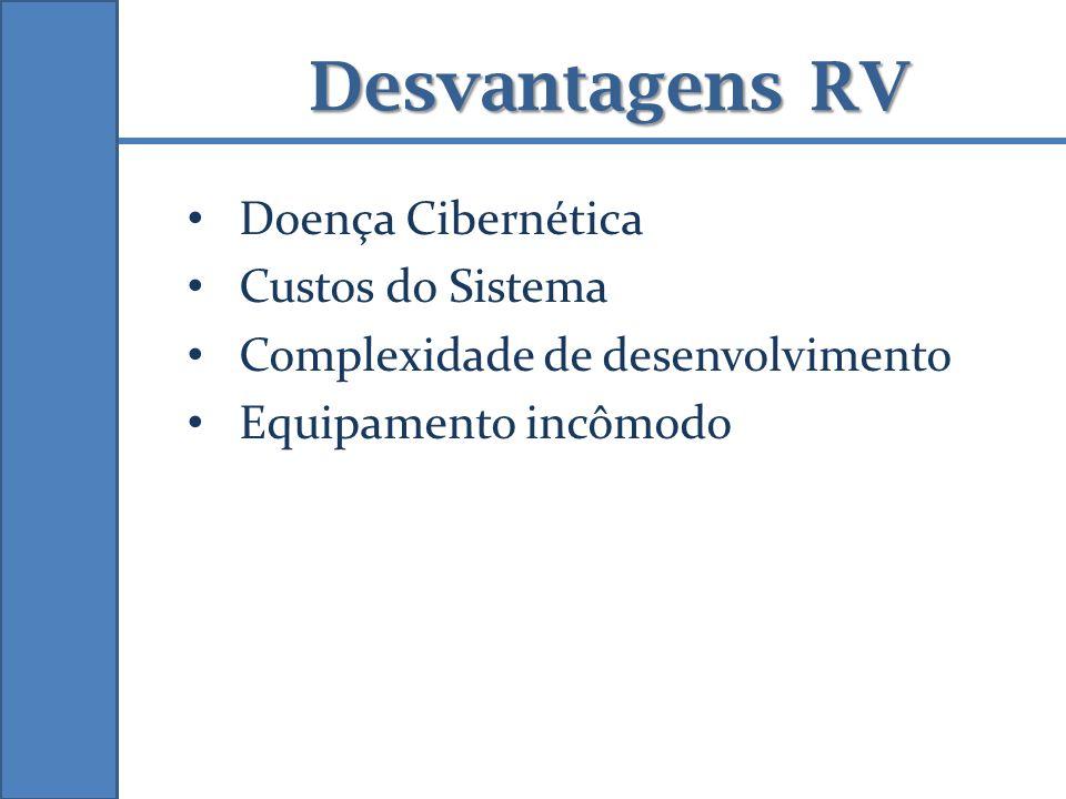 Doença Cibernética Custos do Sistema Complexidade de desenvolvimento Equipamento incômodo Desvantagens RV