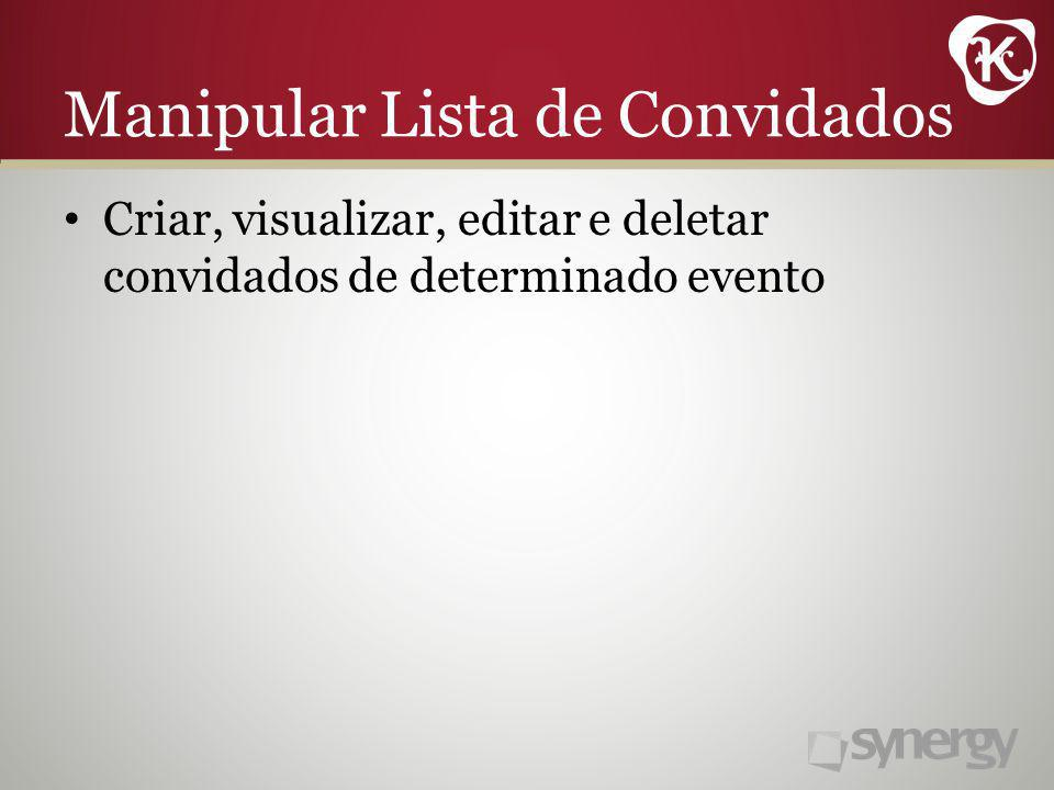 Manipular Lista de Convidados Criar, visualizar, editar e deletar convidados de determinado evento