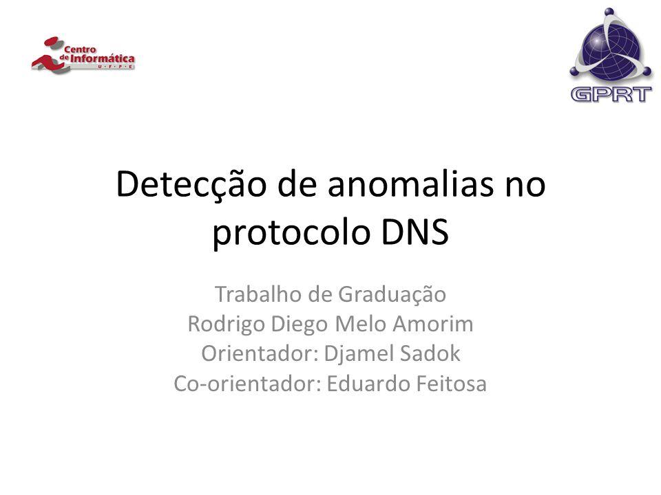 Detecção de anomalias no protocolo DNS Trabalho de Graduação Rodrigo Diego Melo Amorim Orientador: Djamel Sadok Co-orientador: Eduardo Feitosa