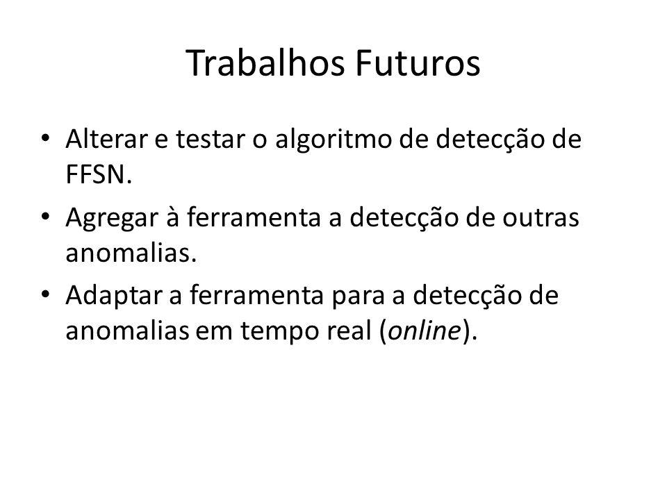 Trabalhos Futuros Alterar e testar o algoritmo de detecção de FFSN. Agregar à ferramenta a detecção de outras anomalias. Adaptar a ferramenta para a d