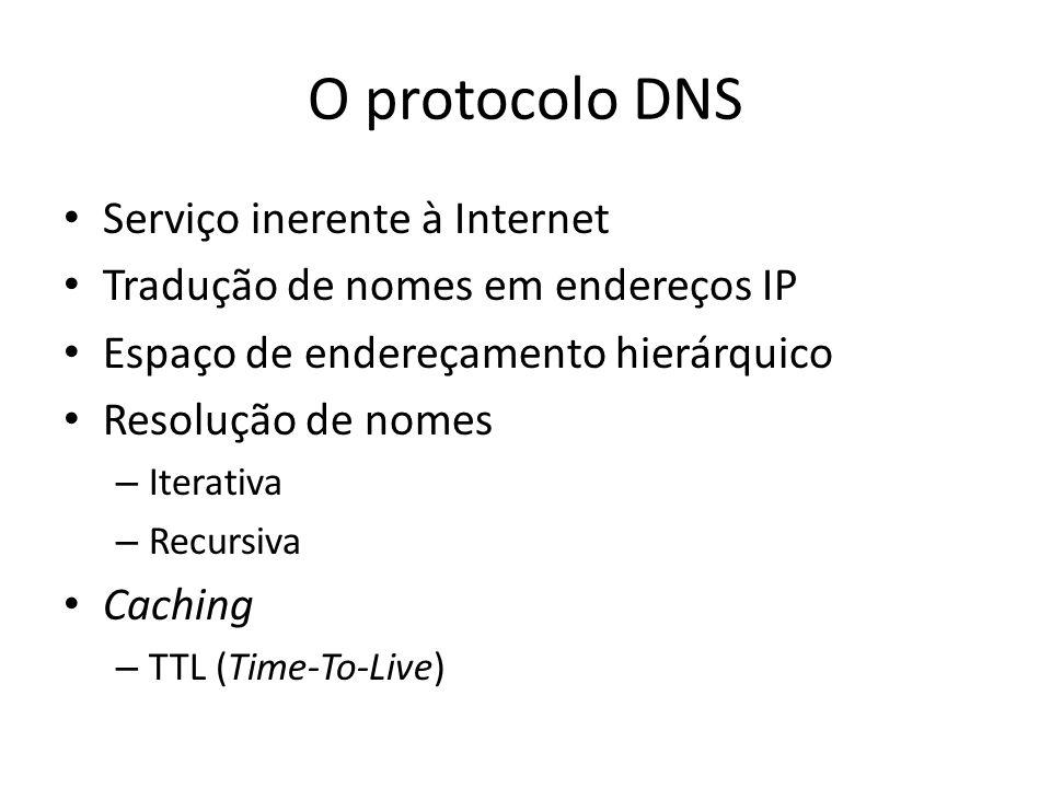 O protocolo DNS Serviço inerente à Internet Tradução de nomes em endereços IP Espaço de endereçamento hierárquico Resolução de nomes – Iterativa – Rec
