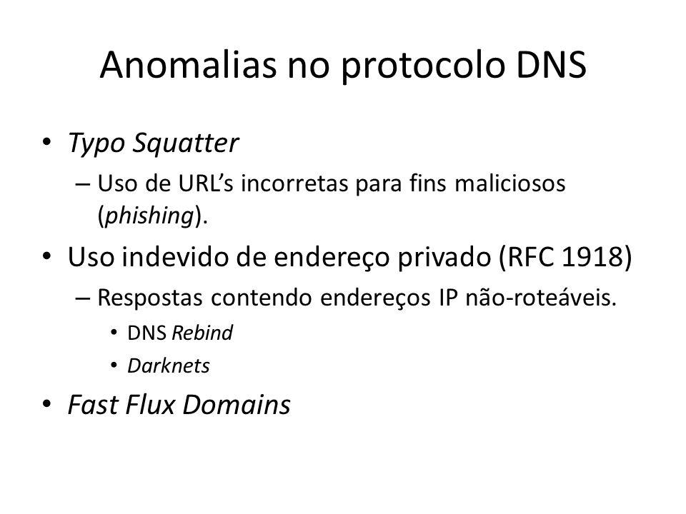 Anomalias no protocolo DNS Typo Squatter – Uso de URLs incorretas para fins maliciosos (phishing). Uso indevido de endereço privado (RFC 1918) – Respo