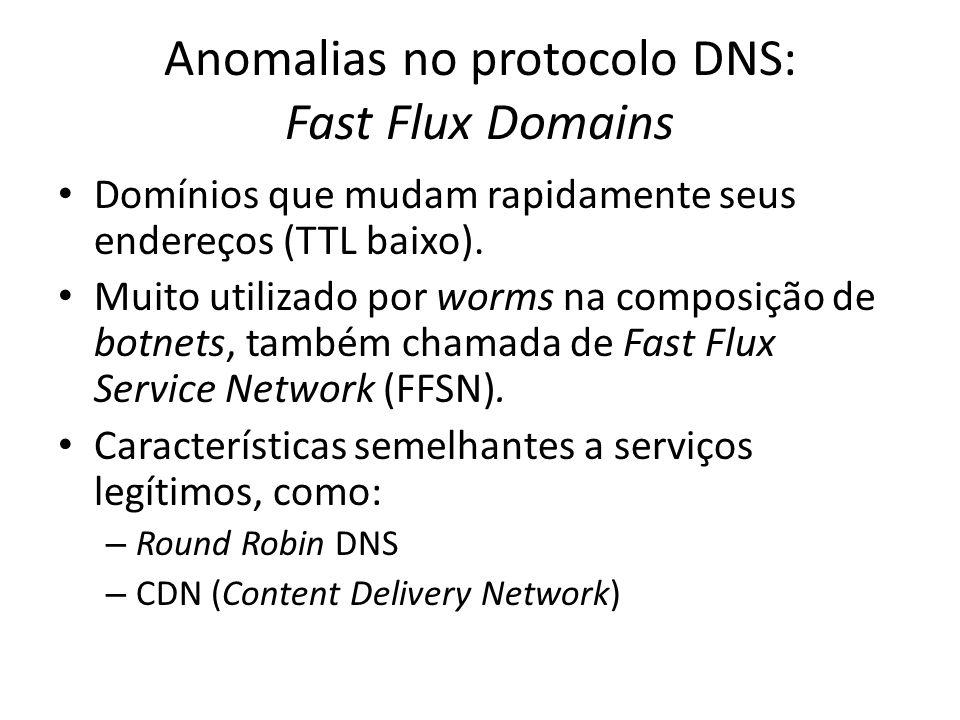 Anomalias no protocolo DNS: Fast Flux Domains Domínios que mudam rapidamente seus endereços (TTL baixo). Muito utilizado por worms na composição de bo