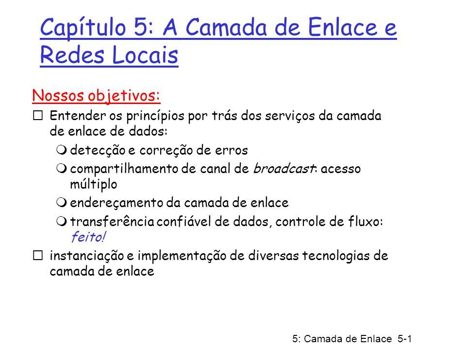 5: Camada de Enlace 5-1 Capítulo 5: A Camada de Enlace e Redes Locais Nossos objetivos: Entender os princípios por trás dos serviços da camada de enla