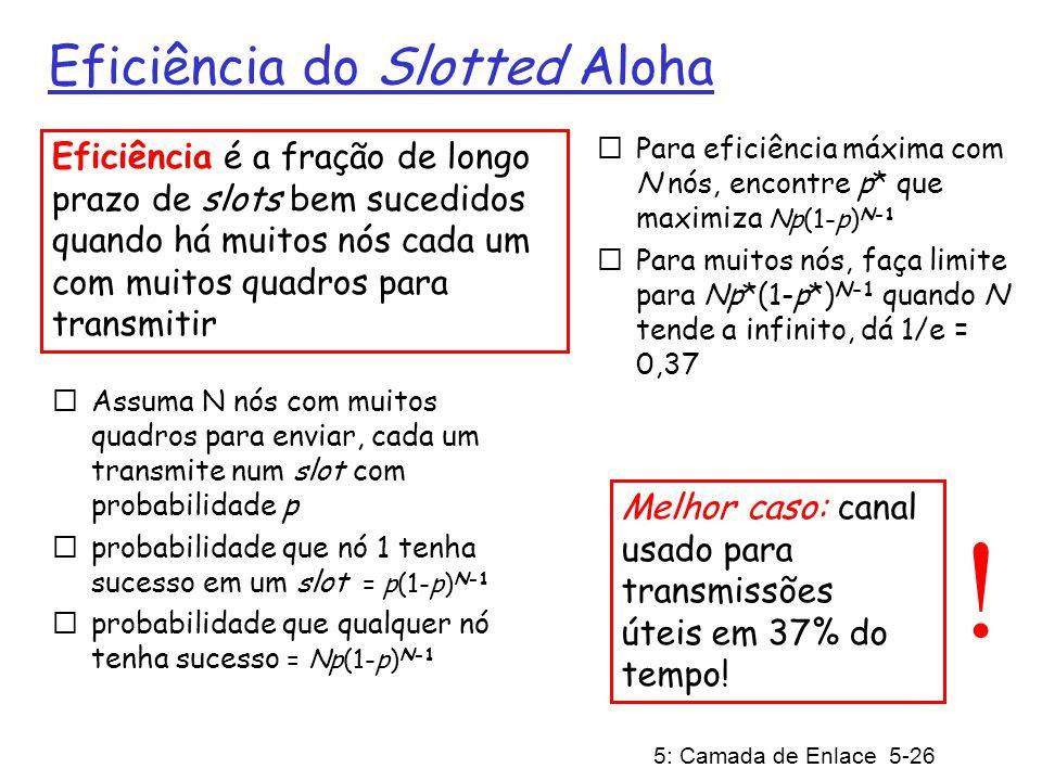 5: Camada de Enlace 5-26 Eficiência do Slotted Aloha Assuma N nós com muitos quadros para enviar, cada um transmite num slot com probabilidade p proba