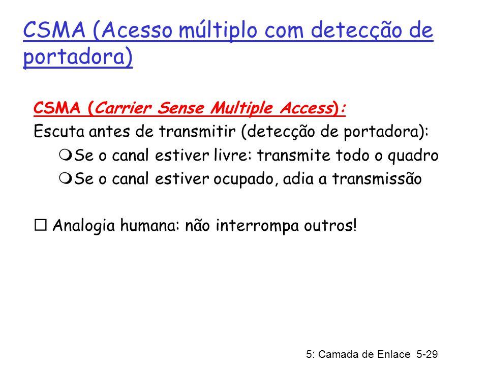5: Camada de Enlace 5-29 CSMA (Acesso múltiplo com detecção de portadora) CSMA (Carrier Sense Multiple Access): Escuta antes de transmitir (detecção d