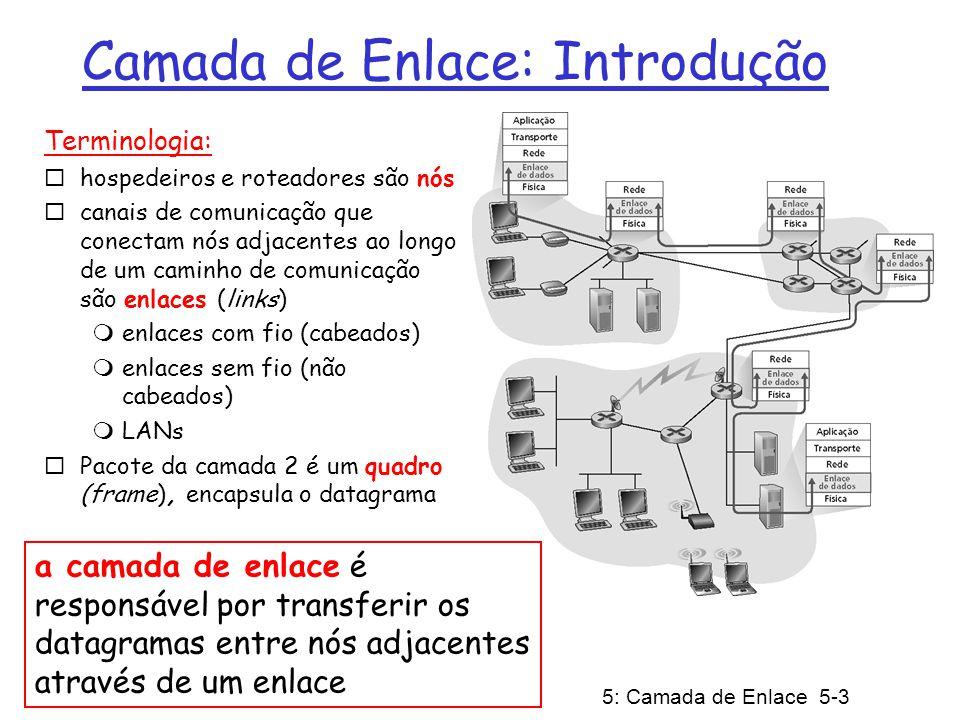 5: Camada de Enlace 5-3 Camada de Enlace: Introdução Terminologia: hospedeiros e roteadores são nós canais de comunicação que conectam nós adjacentes