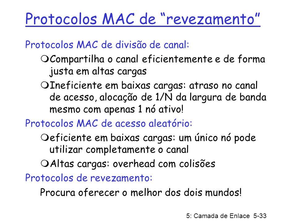 5: Camada de Enlace 5-33 Protocolos MAC de revezamento Protocolos MAC de divisão de canal: Compartilha o canal eficientemente e de forma justa em alta
