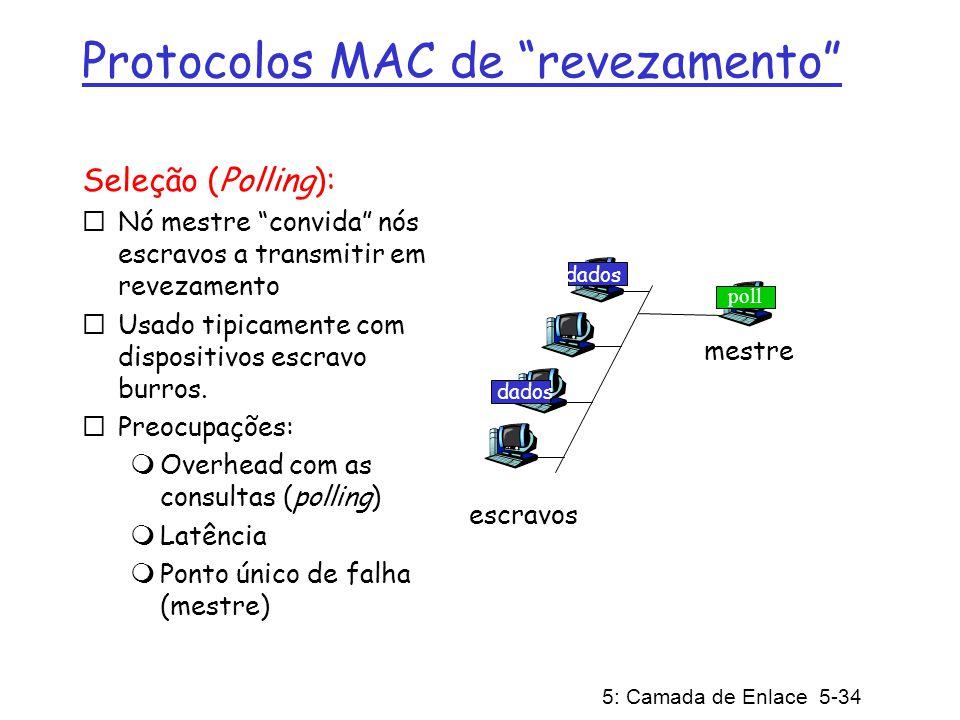 5: Camada de Enlace 5-34 Protocolos MAC de revezamento Seleção (Polling): Nó mestre convida nós escravos a transmitir em revezamento Usado tipicamente
