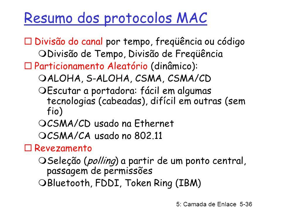 5: Camada de Enlace 5-36 Resumo dos protocolos MAC Divisão do canal por tempo, freqüência ou código Divisão de Tempo, Divisão de Freqüência Particiona