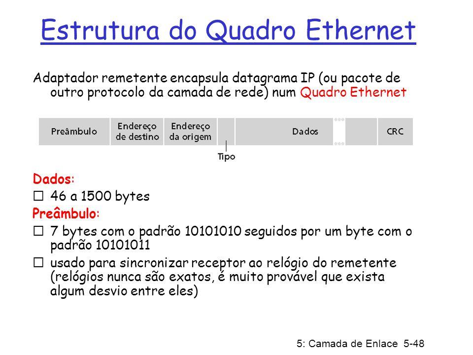 5: Camada de Enlace 5-48 Estrutura do Quadro Ethernet Adaptador remetente encapsula datagrama IP (ou pacote de outro protocolo da camada de rede) num