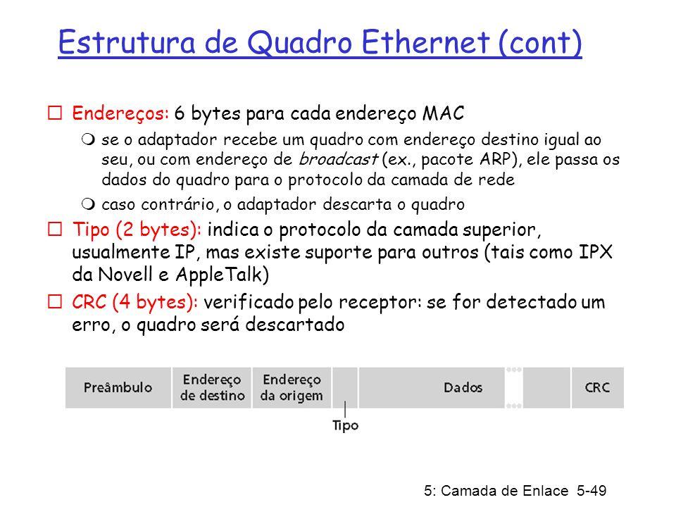 5: Camada de Enlace 5-49 Estrutura de Quadro Ethernet (cont) Endereços: 6 bytes para cada endereço MAC se o adaptador recebe um quadro com endereço de