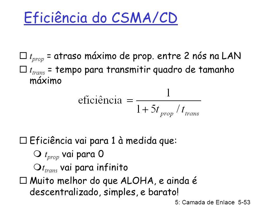 5: Camada de Enlace 5-53 Eficiência do CSMA/CD t prop = atraso máximo de prop. entre 2 nós na LAN t trans = tempo para transmitir quadro de tamanho má
