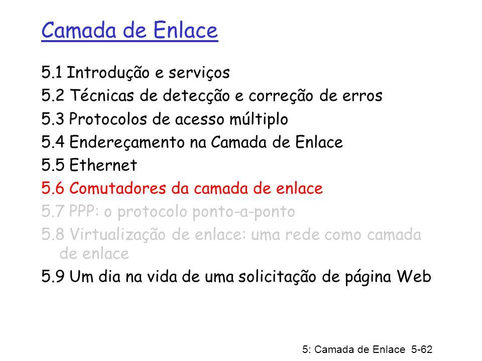 5: Camada de Enlace 5-62 Camada de Enlace 5.1 Introdução e serviços 5.2 Técnicas de detecção e correção de erros 5.3 Protocolos de acesso múltiplo 5.4