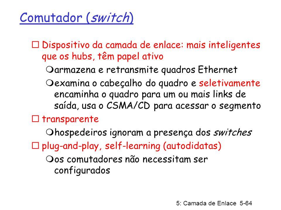 5: Camada de Enlace 5-64 Comutador (switch) Dispositivo da camada de enlace: mais inteligentes que os hubs, têm papel ativo armazena e retransmite qua
