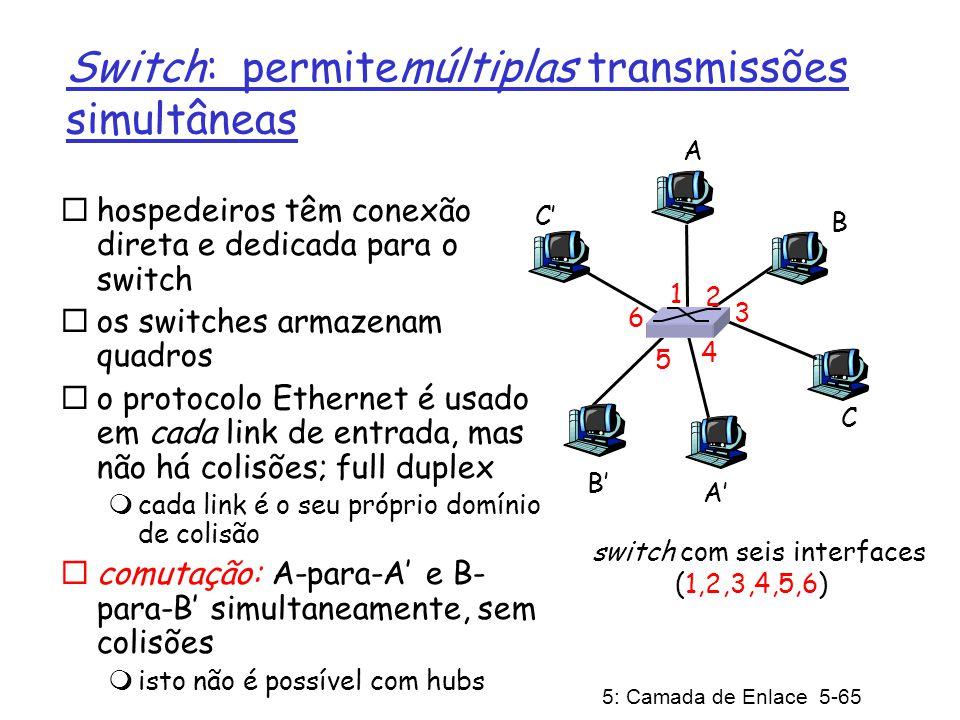 5: Camada de Enlace 5-65 Switch: permitemúltiplas transmissões simultâneas hospedeiros têm conexão direta e dedicada para o switch os switches armazen
